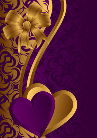 Lilac and gold hearts against a dark background. At the top of a composition a gold bow. Stock Vector - 8605211