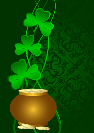 Shamrocks and a pot of gold on a green background.Postcard St. Patrick's Day. Stock Vector - 8615284