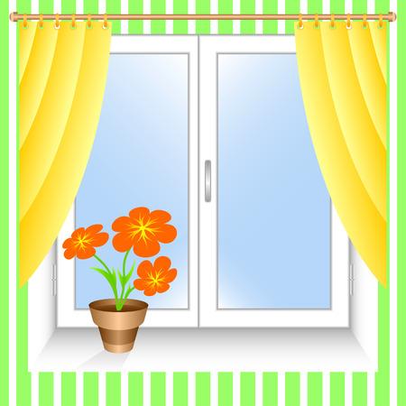 sipario chiuso: Tende finestra e giallo. Un vaso di fiori sul davanzale di una finestra.