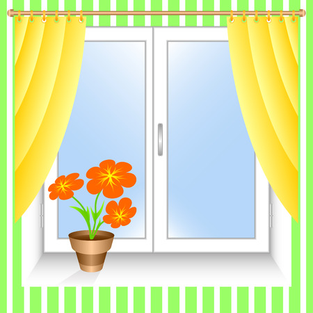 blinds: Window and yellow curtains. A flowerpot on a window sill. Illustration