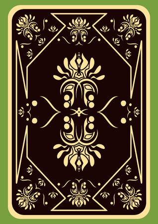The turned playing card on a green background.