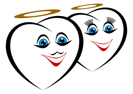 auras: Two hearts on a white background. Over them auras. Hearts smile.