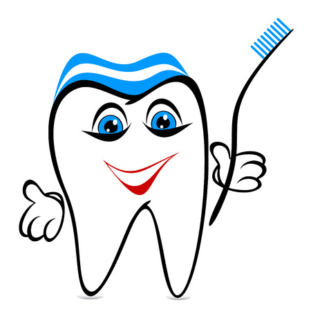Amusing tooth on a white background. Tooth holds a toothbrush.