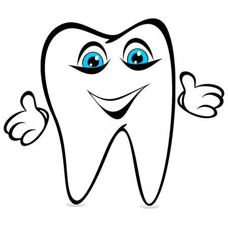 Amusing tooth on a white background. Tooth has dissolved the ridiculous hands.