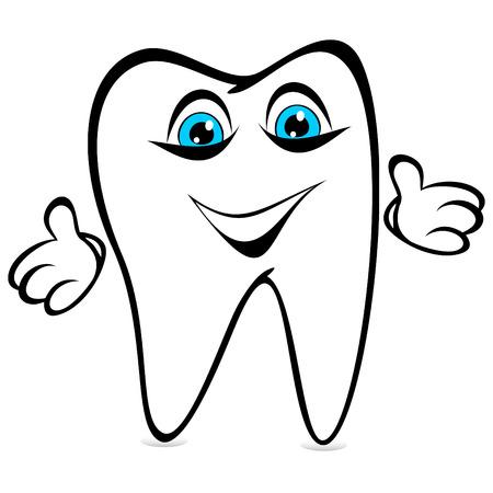 dissolved: Dente divertenti su uno sfondo bianco. Dente ha sciolto le mani ridicole. Vettoriali