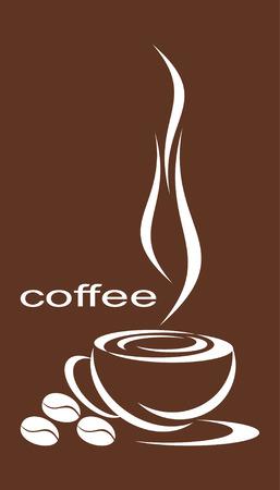 grains of coffee: Taza de caf�, cerca de tres granos de caf�. Una composici�n contra color caf�. Vectores