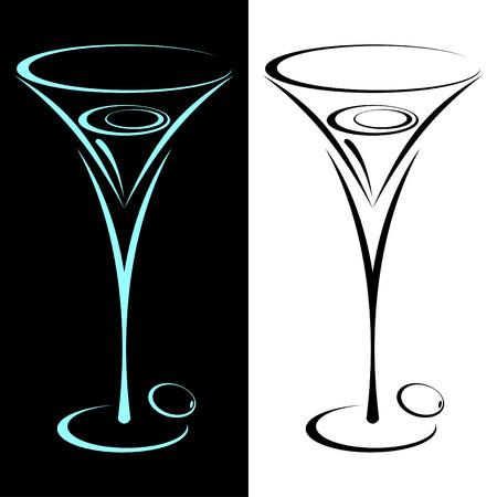 copa de martini: El vidrio estilizado de martini en dos variantes. En negro y sobre un fondo blanco.