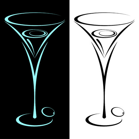 The stylized glass from martini in two variants. On black and on a white background. Vector