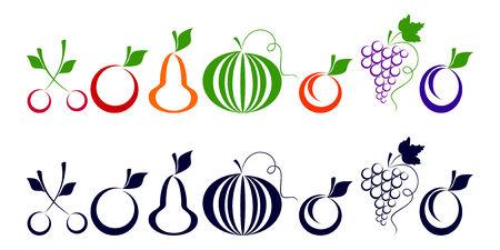 cliche: Conjunto de iconos que representan bayas y frutas sobre un fondo blanco.