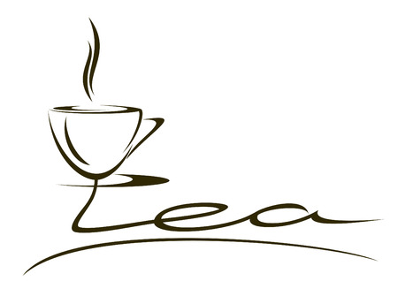The stylized inscription tea on a white background. Illustration