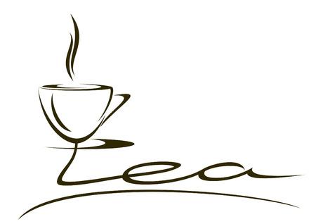 cliche: The stylized inscription tea on a white background. Illustration