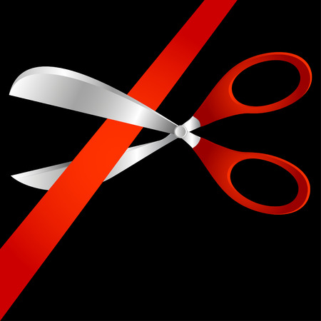 Scissors cut a red tape. A composition on a black background. Vector