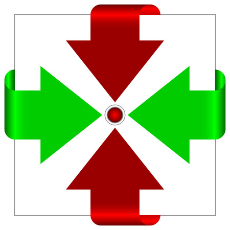 specifying: Red and green arrows go to the center. Illustration