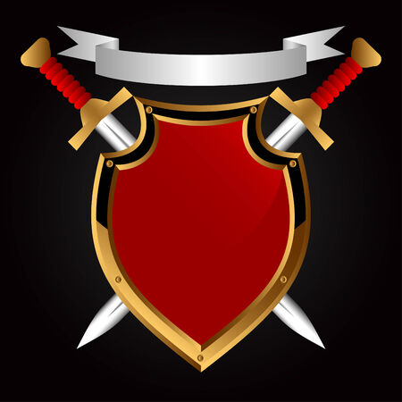 escudo militar: Consejo sobre un fondo negro. Detr�s de ella dos espadas. Vectores