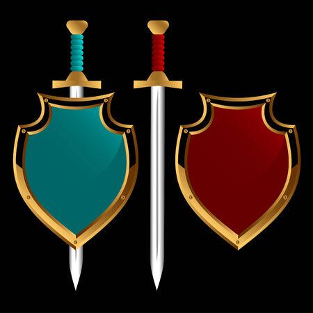 espadas medievales: Conjunto de placas y espadas de diferente color sobre un fondo negro. Vectores