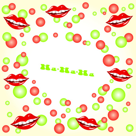 Cheerful abstract background. Red and green spheres. Lips smile. Vector