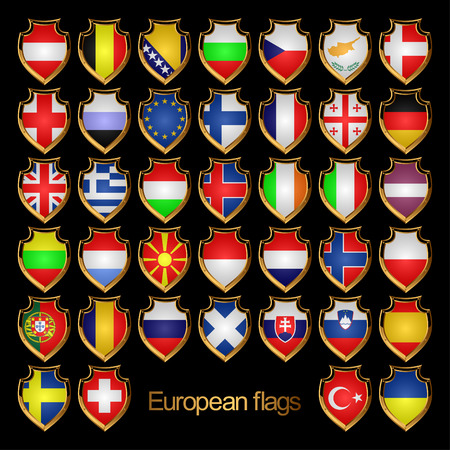 Flags of the countries of Europe. Flags are executed in the form of badges.EPS-10. Ilustração