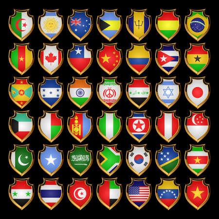 Banderas de los países de la América del Norte, el América del Sur, Asia y África. Banderas en forma de placas.EPS-10. Foto de archivo - 9047807