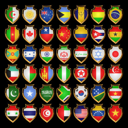 Flags of the countries of the North America, the South America, Asia and Africa. Flags in the form of badges.EPS-10. Vector