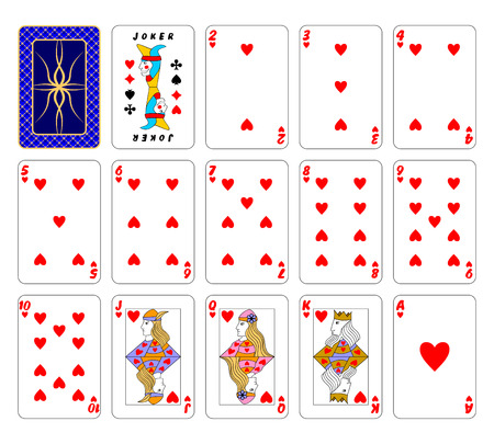 playing card set symbols: Part of the complete set of playing cards. Hearts.
