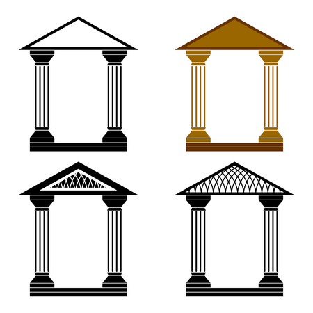 column arch: Four decorative arches on a white background. Illustration