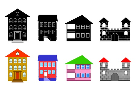 balcony: Black and multi-colored houses on a white background.