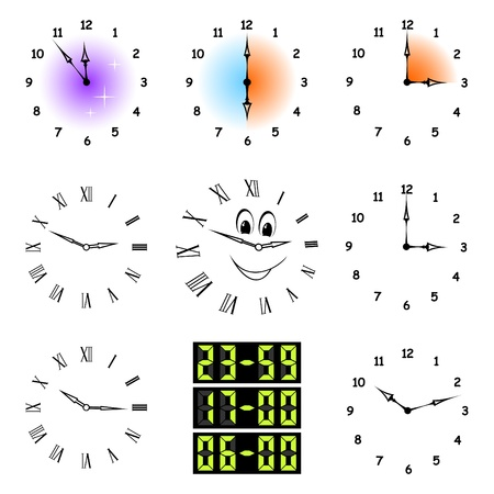 The complete set of different hours on a white background. Ilustração