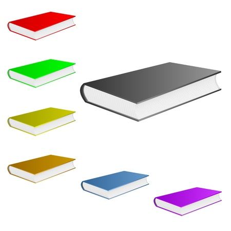 Books of different color lie on a white background. Stock Vector - 9238679