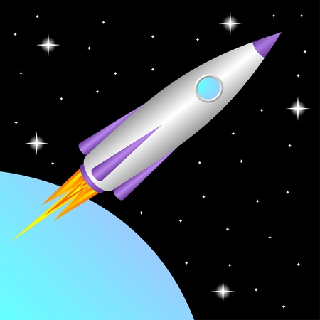 nave espacial: The space rocket flies in a free space.