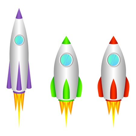 cohetes: Tres cohetes espaciales diferentes sobre un fondo blanco.