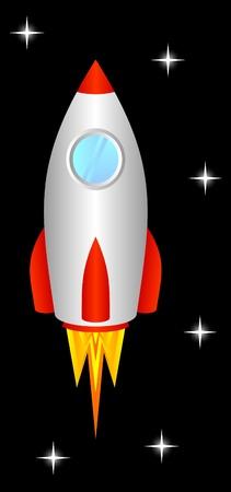 misil: El cohete espacial vuela hacia arriba, al espacio. Vectores