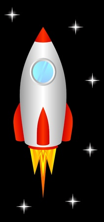 nave espacial: The space rocket flies upwards, to space.