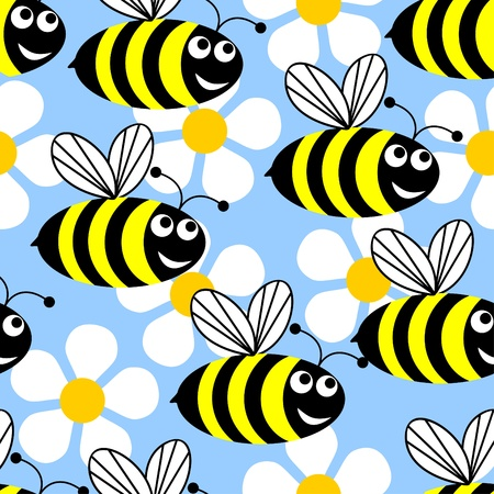 Seamless background in the form of flying bees and white flowers on a blue background. Illustration