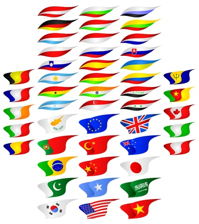 Icons of flags of the different countries of the world on a white background. Vector