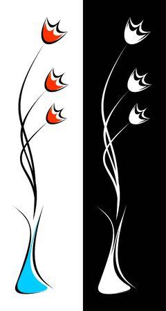 Flowers in a vase. The composition is executed in two variants. A color variant and a monochrome variant.