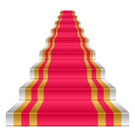 Ladder on a white background. The ladder is covered by a red carpet. Banco de Imagens - 9407655