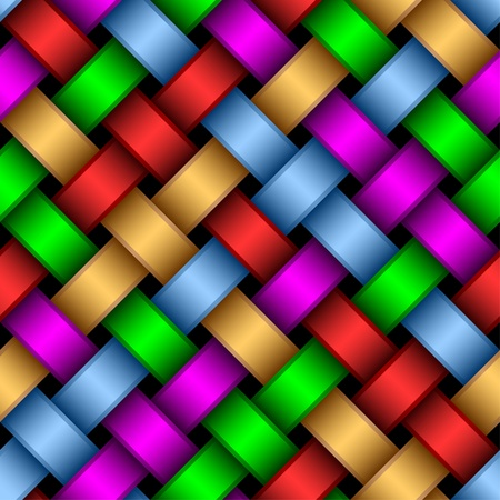 Seamless pattern of interwoven multi-colored ribbons.