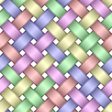Seamless pattern of interwoven multicolored ribbons.Light variant. Banco de Imagens - 9437111