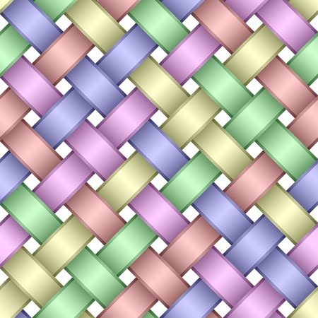 strip structure: Seamless pattern of interwoven multicolored ribbons.Light variant.