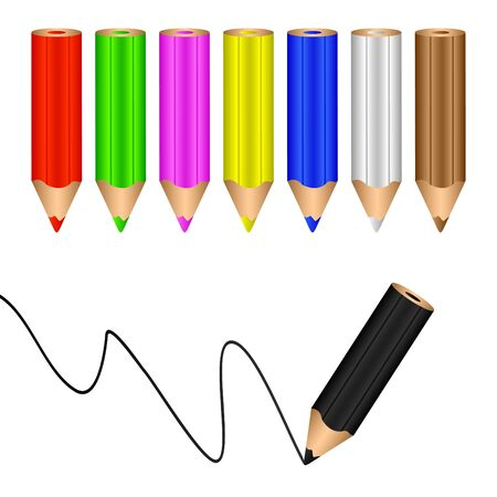 Multicolored pencils on a white background. The black pencil draws a line. Ilustração