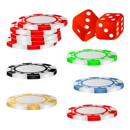 Casino chips and dice on a white background. Stock Vector - 9468652