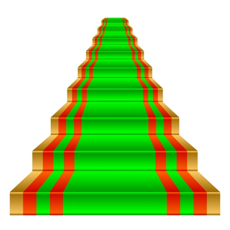 green carpet: Green carpet on a gold staircase. Object on a white background.