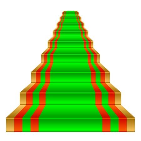 solemn: Verde alfombra en una escalera de oro. Objeto sobre un fondo blanco.