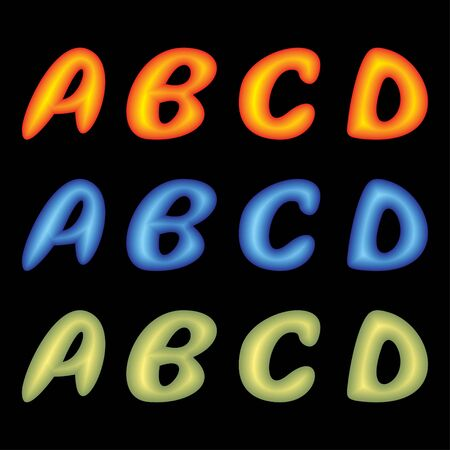 Letters ABCD of the English alphabet on a black background. Letters of different color. Vector