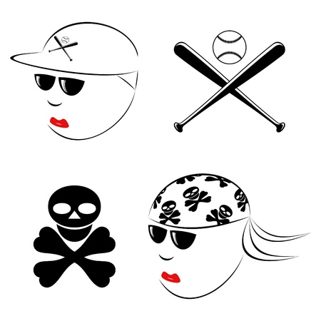 skull cap: The drawn heads of the baseball player and the biker on a white background.