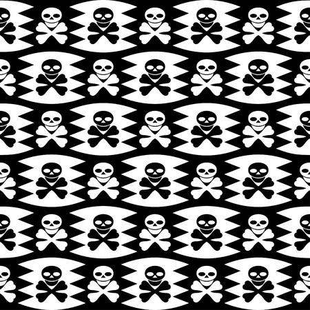 Seamless monochrome background. A white piracy symbol on black and a black piracy symbol on the white. Ilustração