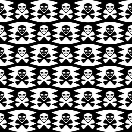 Seamless monochrome background. A white piracy symbol on black and a black piracy symbol on the white. Vector