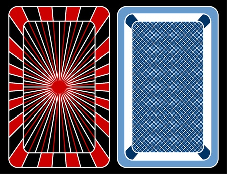 Design of playing cards on a black background.