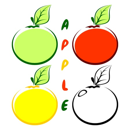 Four apples on a white background. Apples of different color. Vector
