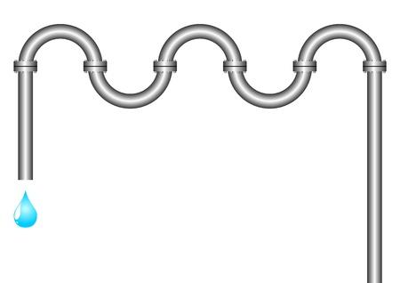 Het water druppel druipt van een pijp. De geïsoleerde object op een witte achtergrond.